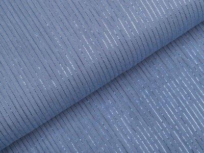 Webware Baumwolle mit Glitzer Bambino - Streifen - uni jeansblau