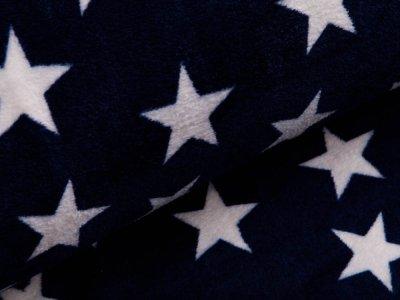 Wellnessfleece Doubleface - Sterne und Streifen - navy