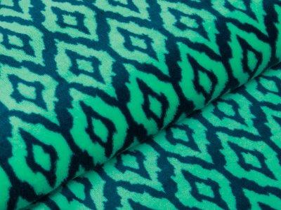 Flanell Fleece Doubleface - Rauten-Muster - grün