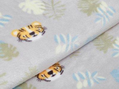 Flanell Fleece - kleine Tiger und Blätter - grau