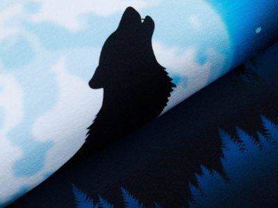 Sweat French Terry Swafing  Wolf Moon 2.0 by Lycklig Design PANEL ca. 100 x 150 cm - Wolf - blau