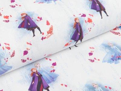 Webware Popeline Baumwolle Digitaldruck - Disney Frozen - Anna und Elsa - weiß