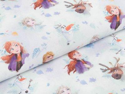 Webware Popeline Baumwolle Digitaldruck - Disney Frozen - Anna und Elsa mit Olaf und Hans - weiß