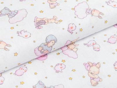 Webware Baumwolle - Tiere auf Wolken mit Sternen - weiß/rosa
