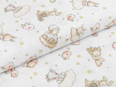 Webware Baumwolle - Tiere auf Wolken mit Sternen - weiß/beige