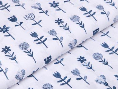 Webware Baumwolle Popeline Stenzo - Gartenblumen - weiß/blau