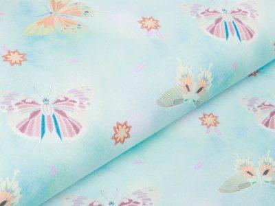 Sweat French Terry - Schmetterlinge - helles blau