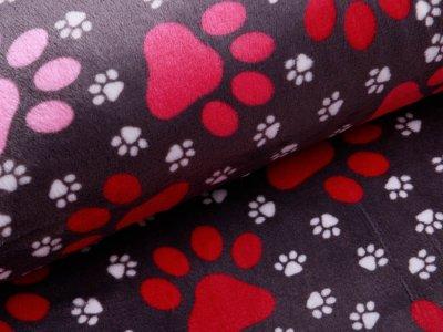 Wellnessfleece - Hundepfödchen - grau/rosa