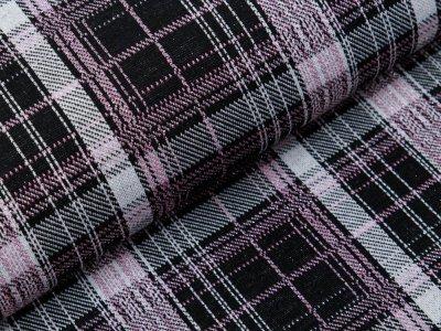 Jersey Viskose mit Glitzerfäden - Karomuster - schwarz/rosa