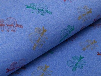 Alpenfleece - Faultiere - meliert blau