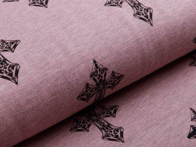 Angerauter Sweat - Kreuze - meliert rosa