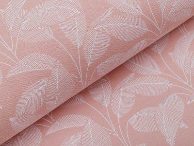 Angerauter Sweat Organic Cotton - Blätter - altrosa