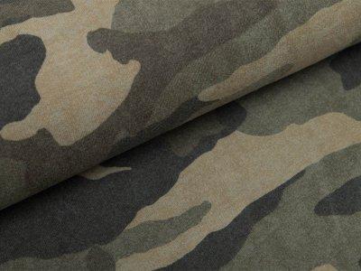 Leicht angerauter Sweat - Camouflage - olive/sand
