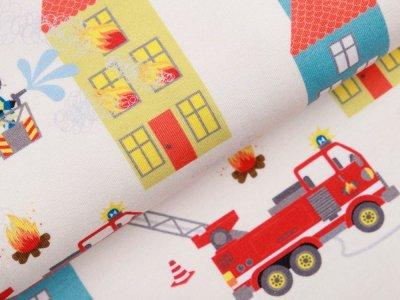 Leicht angerauter Sweat Swafing Feuerwehr-Tatütata by Sandra Kretzmann - Feuerweheren bei Löscharbeiten - beige