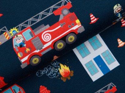 Leicht angerauter Sweat Swafing Feuerwehr-Tatütata by Sandra Kretzmann - Feuerweheren bei Löscharbeiten - anthrazit