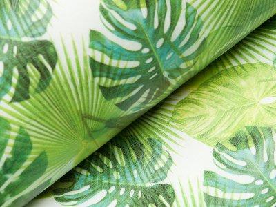 Lederimitat bedruckt - Blätter - wollweiß/grün