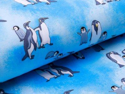 Angerauter Sweat - coole Pinguine - blau
