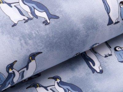 Angerauter Sweat - coole Pinguine - grau