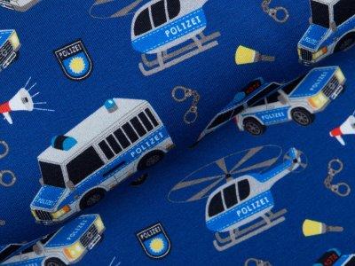 Leicht angerauter Sweat Swafing Gangsterjagt by Sandra Kretzmann - Polizei auf Verfolgungsjagd - kobaltblau