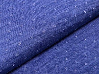 Webware Viskose mit Glitzerfäden Yukon Jeansoptik - kleine Vierecke - jeans