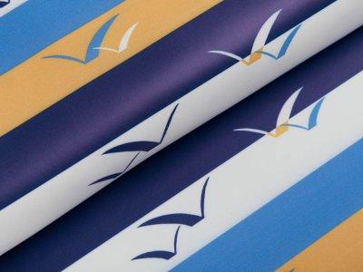Regenjackenstoff - Papiervögel auf maritimen Streifen - gelb