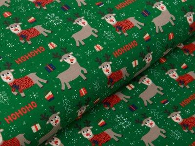 Jersey - HOHOHO Rentiere und Weihnachtsgeschenke - moosgrün