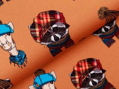 Sweat French Terry Digitaldruck Stenzo - Tiere mit coolen Mützen - ocker