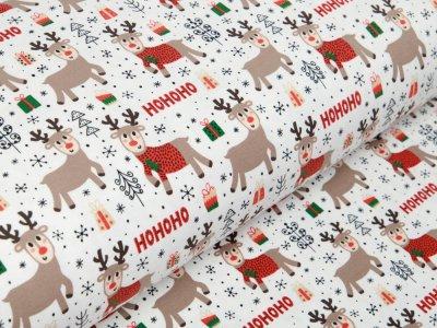 Jersey - HOHOHO Rentiere und Weihnachtsgeschenke - wollweiß