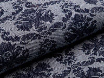 Elastischer Jacquard Jeansstoff - Ornamente - jeansblau