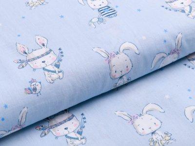 Webware Baumwolle - niedliche Hasen - babyblau