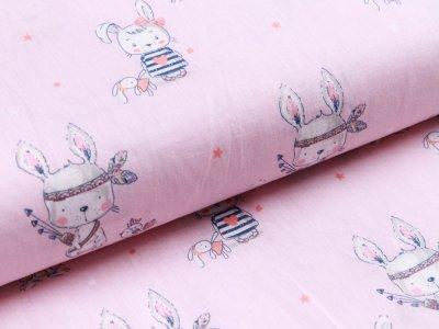Webware Baumwolle - niedliche Hasen - rosa
