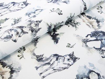 Lederimitat Digitalprint Coupon 50 cm x 140 cm - Wölfe Wald Mond - weiß