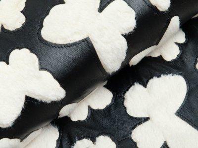 Kunstleder Fur Butterfly - Schmetterlinge - schwarz/weiß