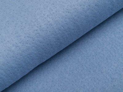 Musselin Baumwolle Double Gauze Collino - eingestanztes Blumenmuster - jeansblau