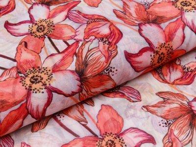 Crepe seitig - verschiedene Blumen - ecru
