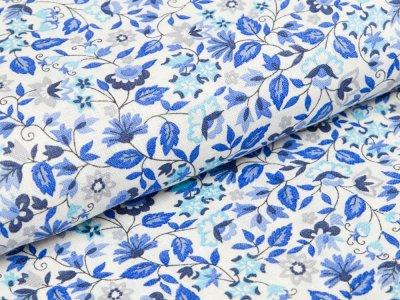 Gewebter Leinenstoff - kleine Blümchen - blau/ grau