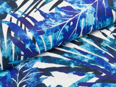 Gewebter Leinenstoff - Blumen - blau