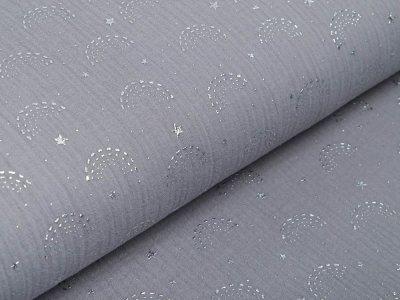 Musselin Baumwolle Double Gauze mit Foliendruck - Regenbögen - grau