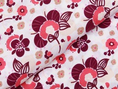 Webware Viskose - Blütenmeer - weiß/rosa