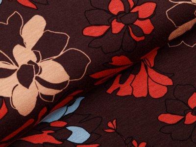 Jersey Viskose - Blumen - braun