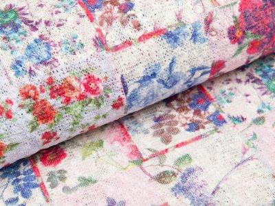 Strick - Stoff - Blumen - weiß/ rot