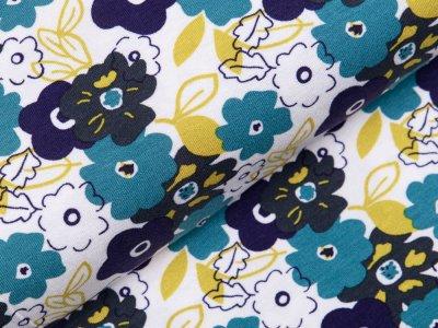 Jersey Viskose - Blumen - weiß