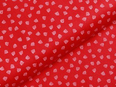 Webware Baumwolle - kleine Anker - rot