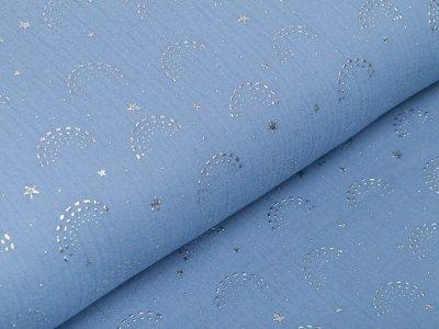 Musselin Baumwolle Double Gauze mit Foliendruck - Regenbögen - jeansblau
