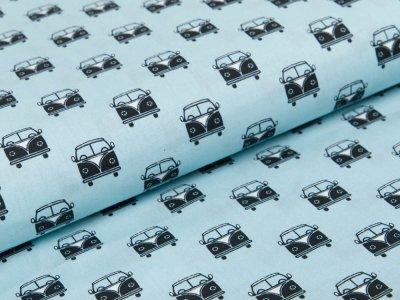 Webware Baumwolle Popeline Stenzo - Autobusse - helles blau
