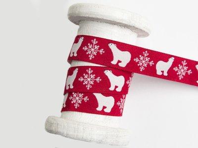 Webband 15mm - Eisbären und Schneeflocke - rot