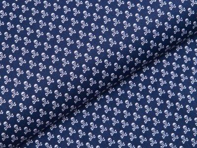 Webware Baumwolle - kleine Totenköpfe - nachtblau