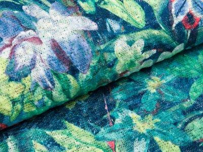 Strick - Stoff - Blumen - blau / grün