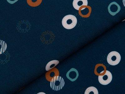 Webware Viskose Swafing Scala - gemusterte Kreise - dunkles blau