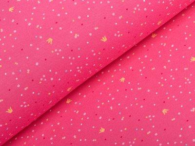 Interlock-Jersey - Kronen und Punkte - pink